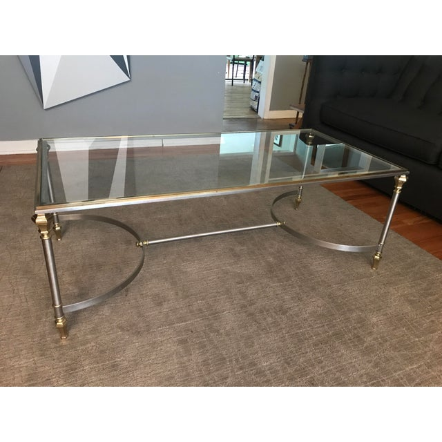Vintage Polished Brass & Steel Coffee Table