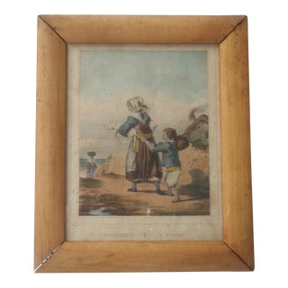 Antique French Engraving Lithograph of Mother Son and Piglets For Sale