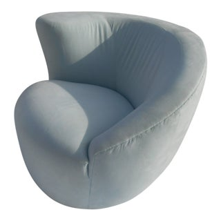 Vintage 1970's Swivel Lounge Chair in Style of Vladimir Kagan For Sale