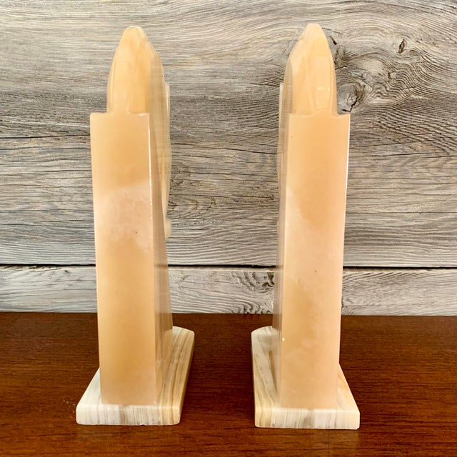 Stone Vintage Art Deco-Style Alabaster Horse Bookends - a Pair For Sale - Image 7 of 13