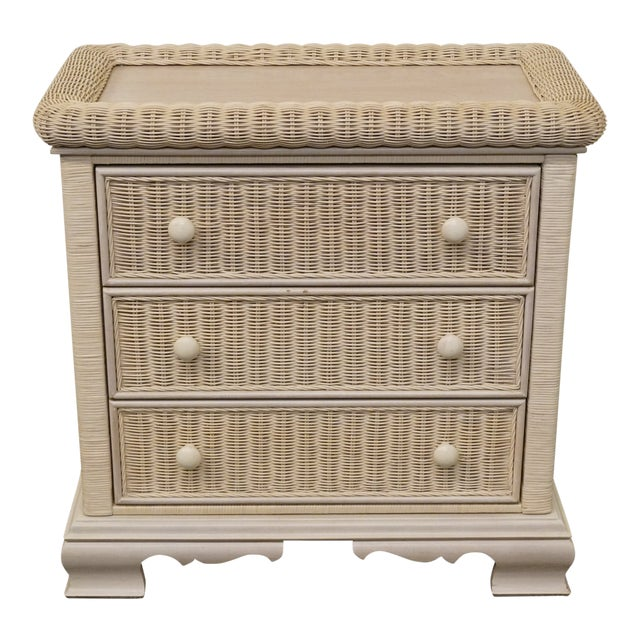 20th Century Country Pennsylvania House White Wicker Nightstand For Sale