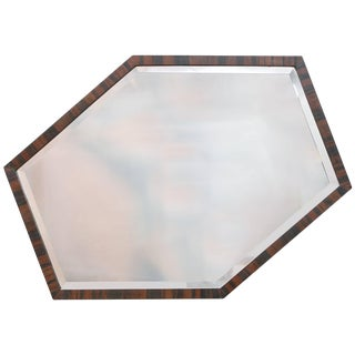 European Art Deco Wall Mirror of Optically Illusory Hexagonal Form For Sale