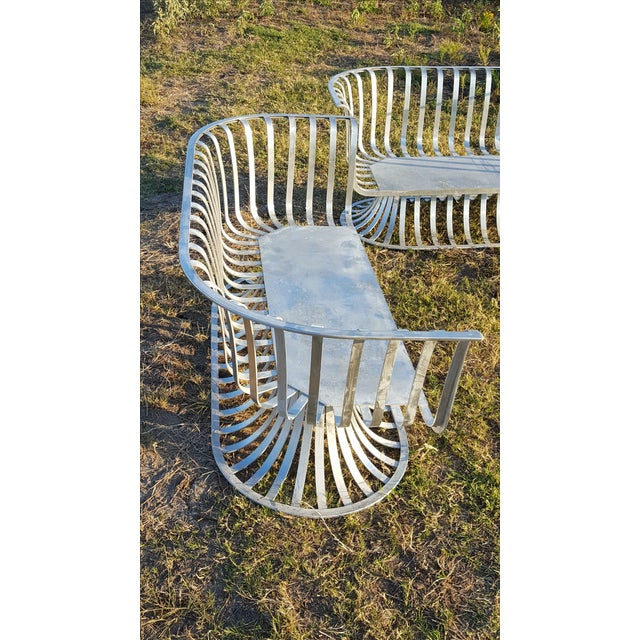 Woodard Furniture Co. Russell Woodard Aluminum Settee For Sale - Image 4 of 5