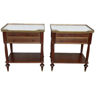 20th Century Pair of Louis XVI Style Marble-Top, Bronze and Walnut Nightstands For Sale