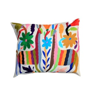 Multicolor Otomi Hand-Stitched Pillow IV For Sale