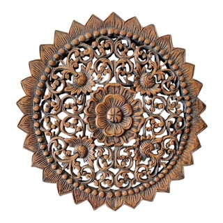 Mid 20th Century Carved Wood Wall Hanging Medallion For Sale