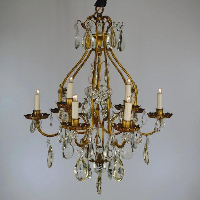Continental Iron & Crystal Chandelier For Sale - Image 4 of 11