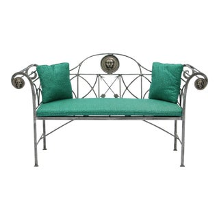 Maitland Smith Regency Style Steel & Bronze Bench For Sale