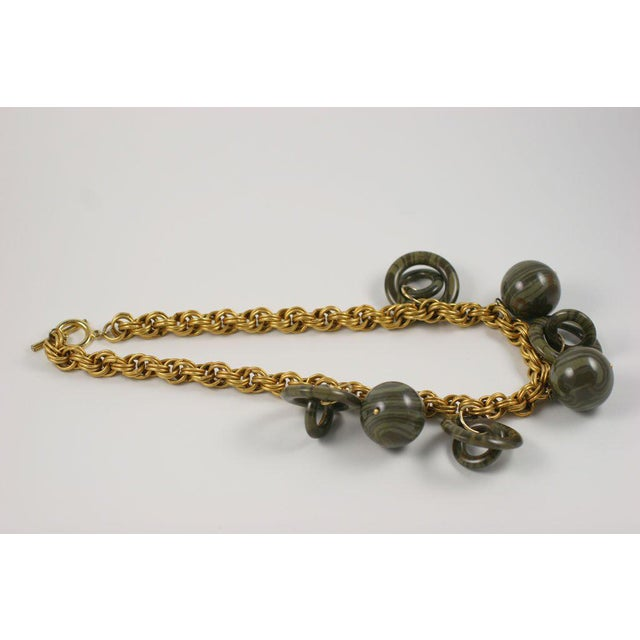 Metal Chunky Goldtone Necklace With Large Dangles For Sale - Image 7 of 9