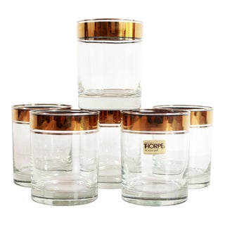 Hollywood Regency Dorothy Thorpe Gold Rimmed Low Ball Glasses - Set of 6 For Sale