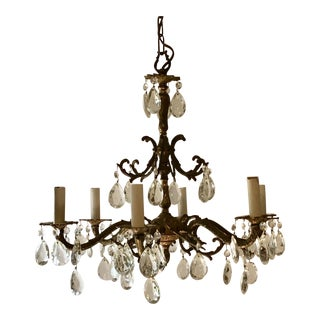 Mid-Century Gilt and Crystal Chandelier