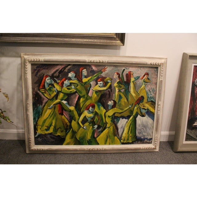 """Fantastic figurative oil on canvas of red haired women in green dresses in motion. Painting 24x36""""."""