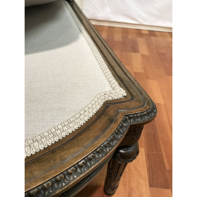 Louis XVI Style European Mahogany Carved Blind Cane Chaise For Sale - Image 10 of 11