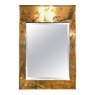 Chinoiserie Reverse Painted Wall Mirror For Sale
