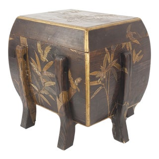 Asian Japanese Brown Lacquered Floor Trunk For Sale