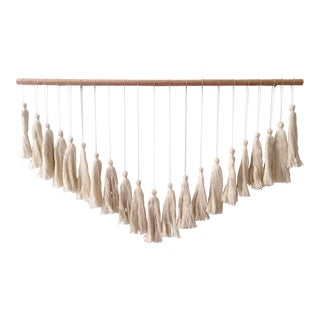 Modern Large Boho Cotton Tassel Wall Hanging Object For Sale