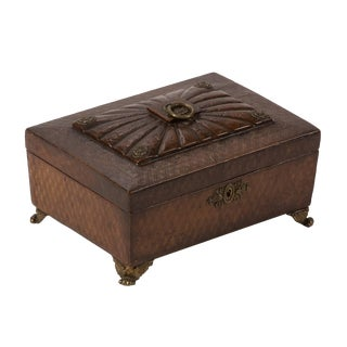 1820s English Leather Decorative Box For Sale