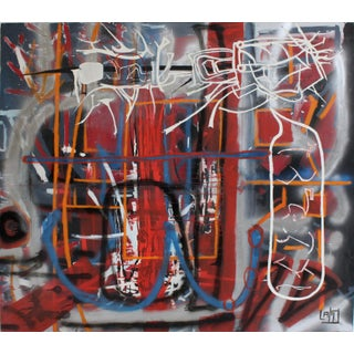 Abstract Graffiti Style Painting by Artist Lionel Lamy For Sale