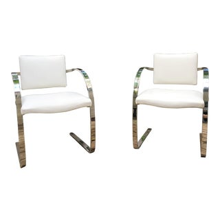 1980s Vintage Mark Mascheroni for Brueton Cantilevered Flat Bar Chairs- a Pair For Sale