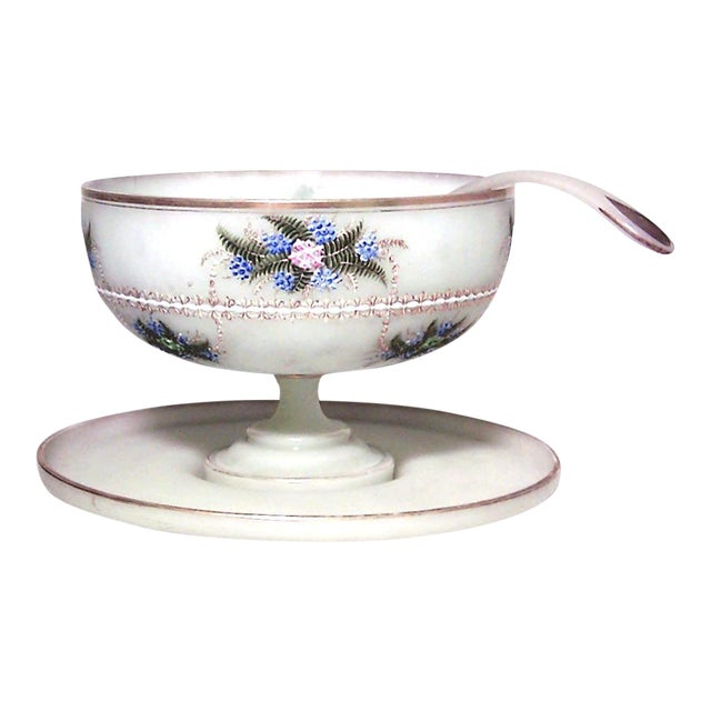 French Victorian Opaline Punch Bowl Set For Sale