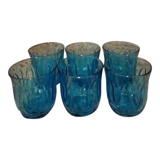 Mid-Century Art Deco Curelean Blue Glasses - Set of 6
