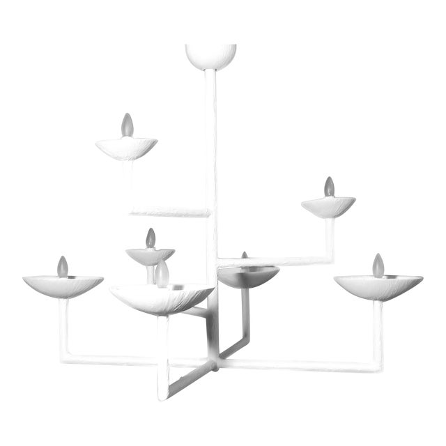7 Cup Plaster Chandelier For Sale