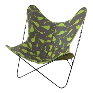 Green & Gray Graphic Pattern Butterfly Chair For Sale