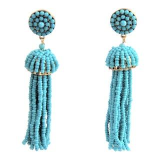 Oscar De La Renta Inspired Turquoise Bead Runway Earrings For Sale
