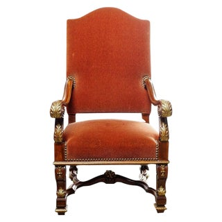 19th Century Italian Walnut Throne Chair For Sale
