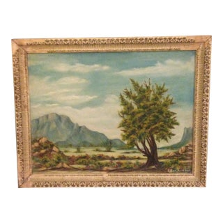 Vintage Plein Air Painting in Distressed Plaster Frame For Sale