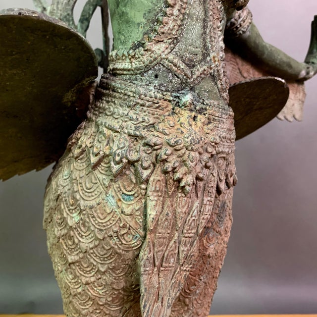 """Early 1900s Mythologic Kinnaris 30"""" Bronze Statue, Thailand For Sale - Image 9 of 12"""