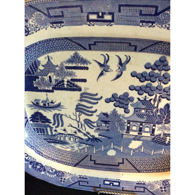 English Staffordshire Blue Willow Country Platter - Image 3 of 4