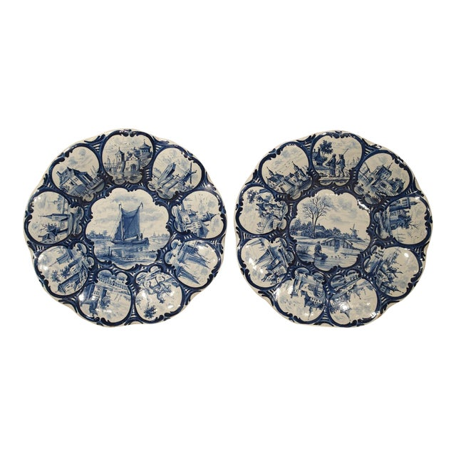 Pair of Antique Dutch Blue and White Faience Bowls, Early 19th Century For Sale