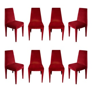 1970s Vintage Stiletto Velvet Dining Chairs - Set of 8 For Sale