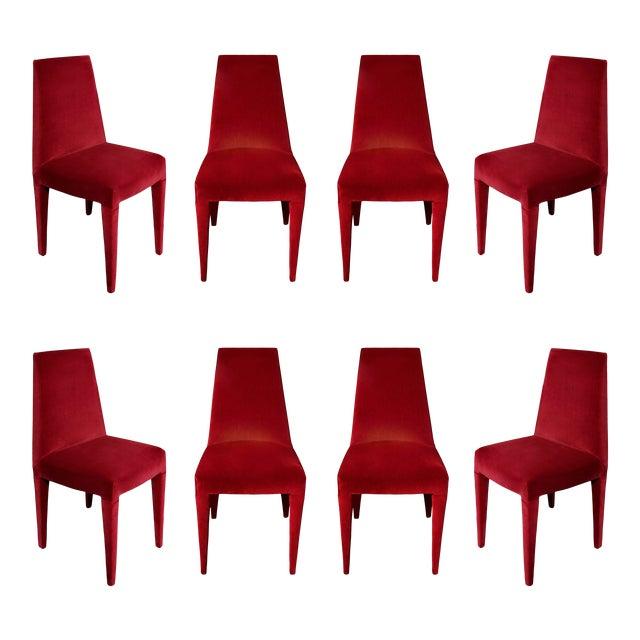 1970s Vintage Stiletto Velvet Dining Chairs - Set of 8 For Sale