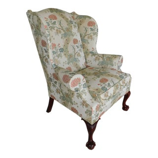Kindel Chippendale Style Ball & Claw Foot Wing Back Arm Chair For Sale