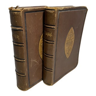 1877 Antique Mole Skin Leather Prayer & Hymnal Books - a Pair For Sale