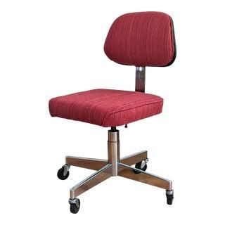 Restored Red Vintage Desk Chair For Sale