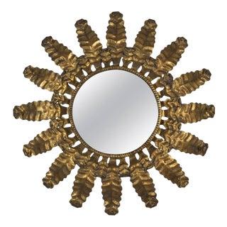 Unusual Round Gilt Metal Sunburst Mirror For Sale