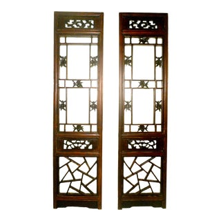 Antique Chinese Cunninghamia Wood Screen Panels - Set of 2 For Sale