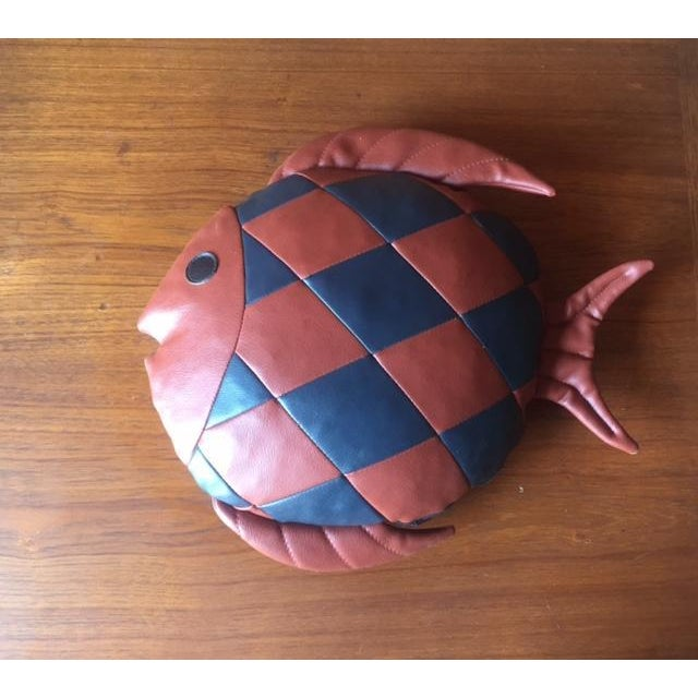 Vintage 1970's Leather Fish Pillow - Image 3 of 4