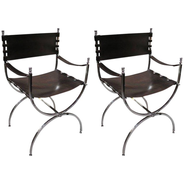 Pair of Chrome and Leather Directors Chairs Attributed to Maison Jansen For Sale