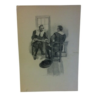 "Vintage Miles Standish Print ""The Meeting"" by Howard Christy 1903 For Sale"