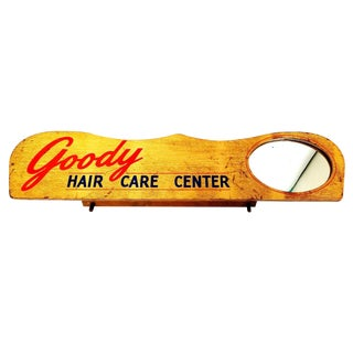 Vintage Goody Hair Care Center Wood Mirror Store Beauty Parlor Display Sign