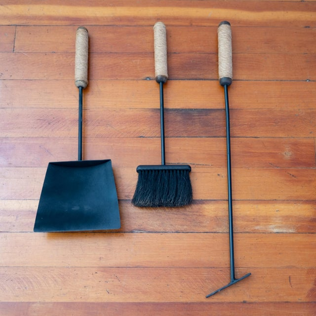 1950s 1950s Tony Paul Iron Cord Wrapped Wood Handle Fireplace Tools For Sale - Image 5 of 13