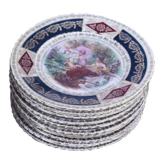 Early 20th Century Antique Vienna Plates - Set of 10 For Sale