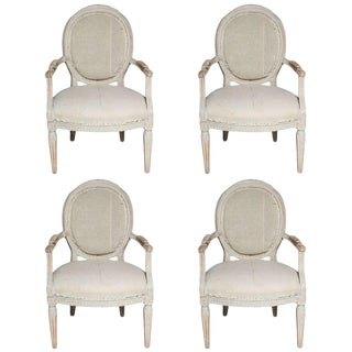 Italian Oval Back Fauteuils With Original Paint - Set of 4 For Sale