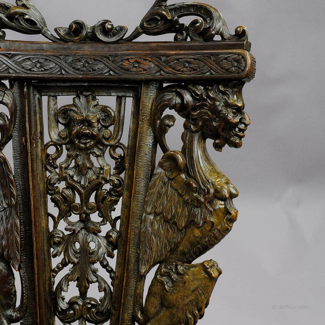 A Great Renaissance Style Italian Sgabello Chair Ca. 1860 For Sale - Image 11 of 13