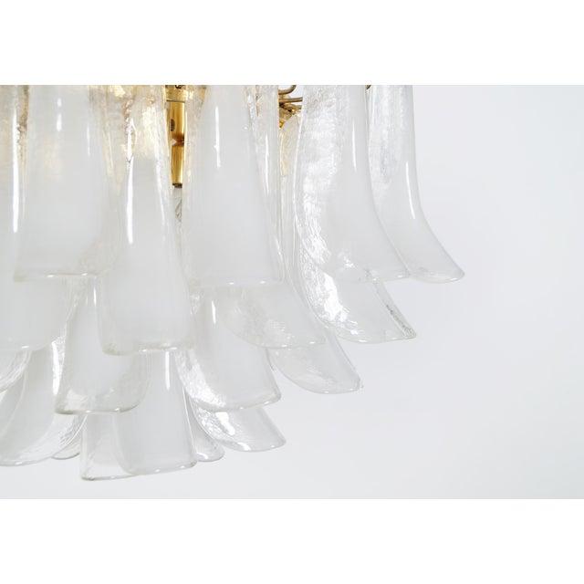 "White Italian Murano ""Petal"" Chandelier by Mazzega For Sale - Image 8 of 9"