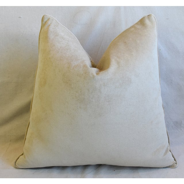 "French Floral Linen & Velvet Feather/Down Pillows 24"" Square - Pair For Sale - Image 10 of 13"